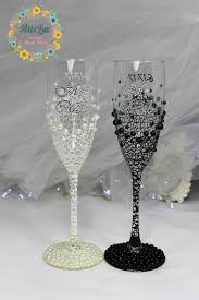 wedding gift glasses personalized wedding chagne glasses in ivory black painted
