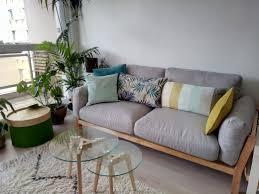 canape disign canapé design 3 places déhoussable gris clair pieds bois kyo