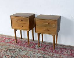 double unpolished teak wood bedside table with double drawers and glass mirror bedside