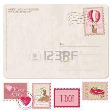 la poste timbre mariage invitation de mariage carte postale vintage avec des timbres
