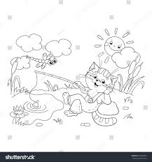 coloring page outline funny cat catching stock vector 336598685
