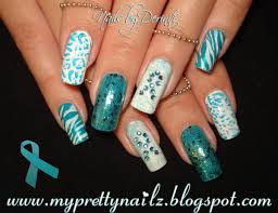 pcos and ovarian cancer awareness nails easy nail art design