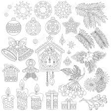decorations coloring page of vintage retro decor elements