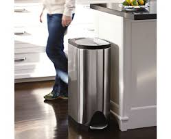 interior stainless steel simplehuman trash cans with dark granite