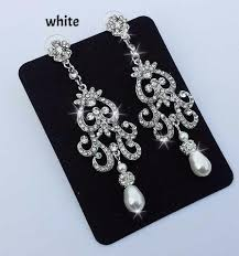 bridal chandelier earrings nicola vintage inspired rhinestone and swarovski pearl bridal