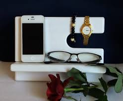 white wooden charging station phone charging station valet
