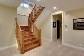 finished wooden basement stair tips to build basement stairs