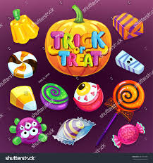 happy halloween candy set trick treat stock vector 681794704