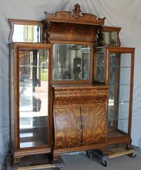 Curio Cabinet Asheville Nc Victorian Curved Oak China Cabinet W Lions Head Leaded Ebay