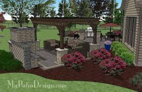 Large Paver Patio Design With Grill Station Bar Plan No by Rear Paver Patio Design With Pergola Fireplace U0026 Bar Download