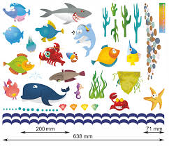 mini underwater stickers wall stickers decals mini under sea water world full colour wall stickers size chart