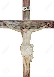vintage church statue of jesus on the cross stock photo picture