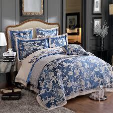 Blue Duvet 6pc Luxury Chinese Silk Duvet Cover Set Dark Blue And Grey