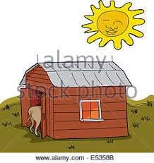 A Cartoon Barn A Cartoon Illustration Of A Little Bull Smiling Stock Vector Art