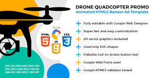 drone quadcopter promo animated html5 banner ad template by y n
