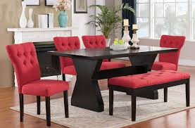 dining room set w red chairs