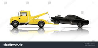 truck car black tow truck towing black muscle car stock vector 507807550