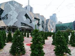 Artificial Christmas Tree Australia Federation Square In Melbourne In Australia With Artificial Green