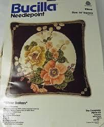 bucilla needlepoint kit silver dollars floral 14 pillow wool