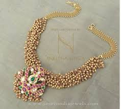 bead design jewelry necklace images Gold antique clustered bead necklace south india jewels jpg