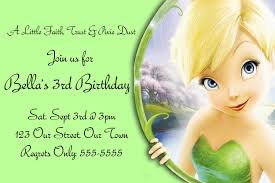 fun tinkerbell party invitations kids green schemed colors