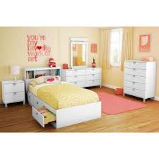 Twin Bed With Storage And Bookcase Headboard by South Shore Spark Full Size Bookcase Headboard In Pure White