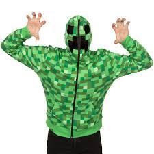 Minecraft Creeper Halloween Costume Amazon Minecraft Men U0027s Creeper Premium Zip Hoodie Clothing