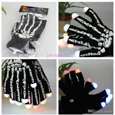 Kids Light Halloween Costume 2017 Led Skeleton Gloves Light Shows Flash Knit Gloves Light