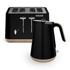 Morphy Richards Toasters And Kettles Scandi Black Aspect Kettle And 4 Slice Toaster Set Wooden Trim