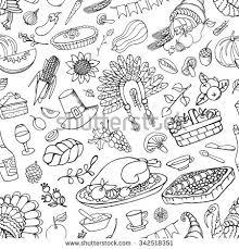 thanksgiving day iconsdoodle seamless patternautumn harvest stock