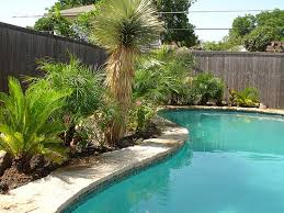 Backyard Simple Landscaping Ideas by Kidney Bean Shaped Swimming Pool With Rustic Wooden Fences For