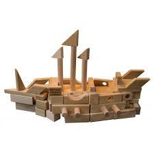 wooden block set castle creator 118 wood blocks in white