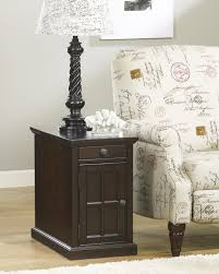Pull Out Table Chair Side End Table With Power Outlets U0026 Pull Out Shelf By