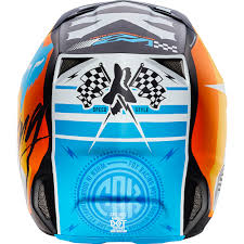 helmet motocross fox racing 2017 mx new v2 rohr white orange blue dirt bike