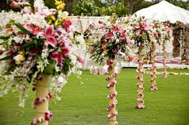 Topiaries Wedding - an elaborate wedding aisle with free standing bamboo topiaries