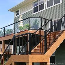 Railings And Banisters Ideas Elevated Deck Railing Ideas Metal Rails Slender Staircase
