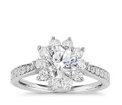 floral engagement rings starburst floral diamond halo engagement ring in 14k white gold 1