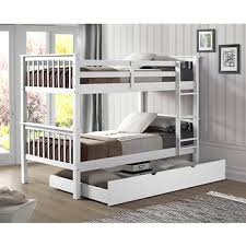 w trends twin size solid wood bunk bed with trundle white