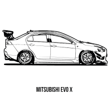 mitsubishi evo drawing jdm colouring book 101 squadron