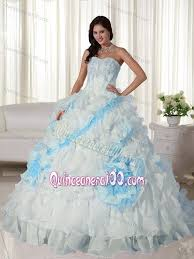 blue quincea era dresses appliques sweetheart white and blue quinceanera dress with court