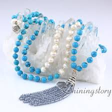 white pearl necklace designs images Real pearl necklace hindu chinese buddhist prayer beads 108 mala jpg