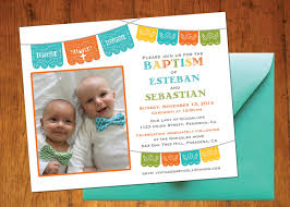 Baptismal Invitation Card Maker Free Download Baptism Boy Fiesta Invitation For One Or Two Children Twins