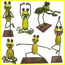 choice of 6 different positioned metal frog ornaments medium