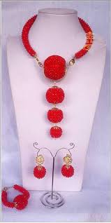 indian necklace set images Amazing red wedding african beads jewelry set indian bridal jpg