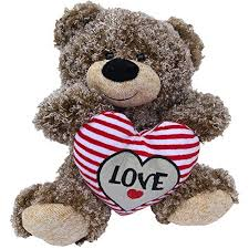 big valentines day valentines teddy curly hair plush with heart 11 inch