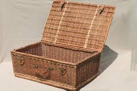 vintage picnic basket wicker picnic basket suitcase type vintage picnic w