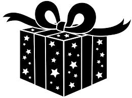present black and white christmas present clip art black and white
