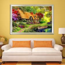 garden bungalow diamond painting hanging rhinestone canvas 5d