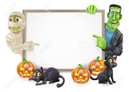 halloween sign or banner with orange halloween pumpkins and black