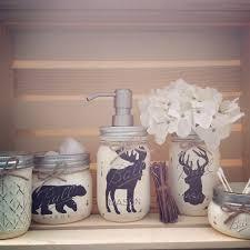 hand painted mason jar bath set rustic animals woodland animals